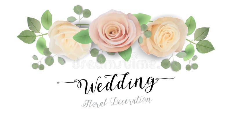 Invitation l'épousant florale, merci - aquarelle à la mode Juliet Roses douce de conception de calibre de carte illustration de vecteur