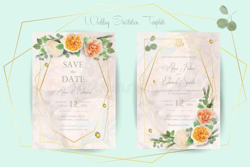 Invitation l'épousant florale, merci, rsvp, font gagner la date, douche nuptiale, jour de mariage, l'ensemble de calibre de carte illustration libre de droits