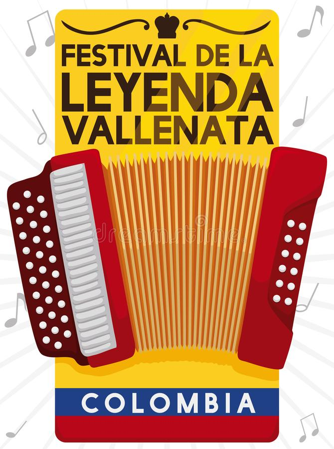 Label with Accordion, Flag and Notes for Vallenato Legend Festival, Vector Illustration. Invitation label with accordion design, Colombian flag, crown silhouette royalty free illustration