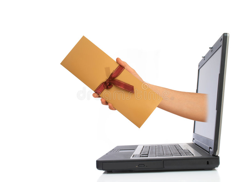 Invitation from laptop. Hand with beautiful invitation from laptop, space for messages