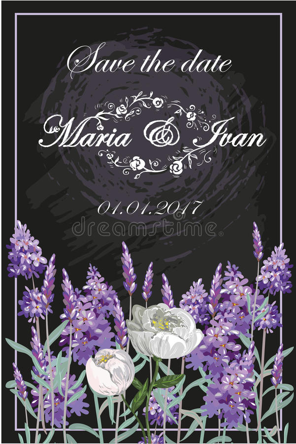 Invitation with lavender and peony on chalkboard vector stock illustration
