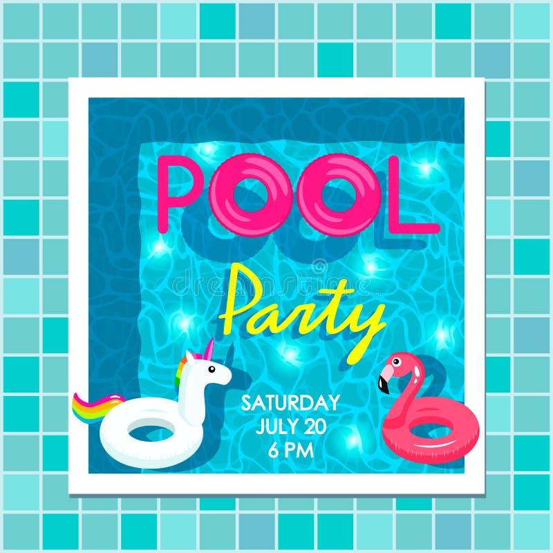 Invitation lumineuse d'affiche ? une partie de plage par la piscine Vue supérieure de la piscine, des cercles gonflables de flama illustration stock