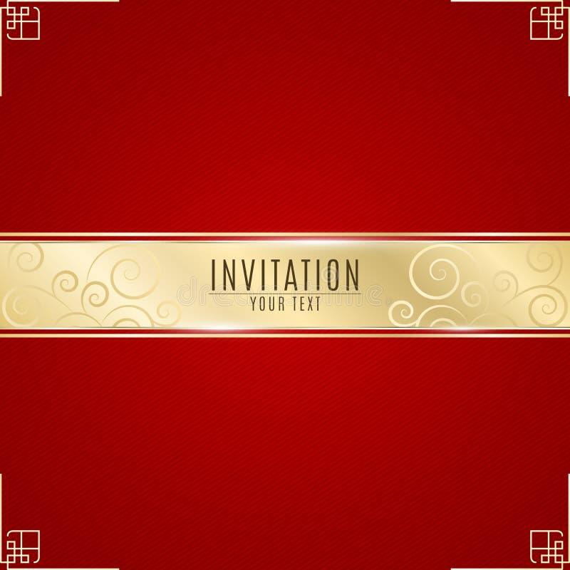 Invitation luxueuse Bannière d'or de ruban sur un fond rouge avec un modèle des lignes obliques Bande réaliste d'or avec un inscr illustration stock