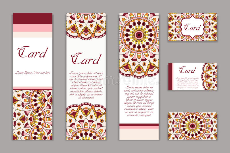 Invitation mandala design template. Graphic card with hand drawn ornament. Colorful eastern floral decor for greetings, wedding in. Vitations, party cards royalty free illustration