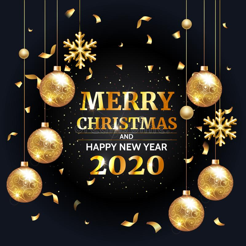 Invitation merry christmas party and happy new year 2020 poster banner and card design template. Vector Happy winter holiday royalty free illustration