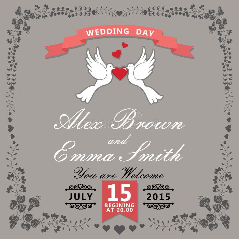 Invitation mignonne de mariage Articles et pigeons floraux de bande dessinée cru illustration stock
