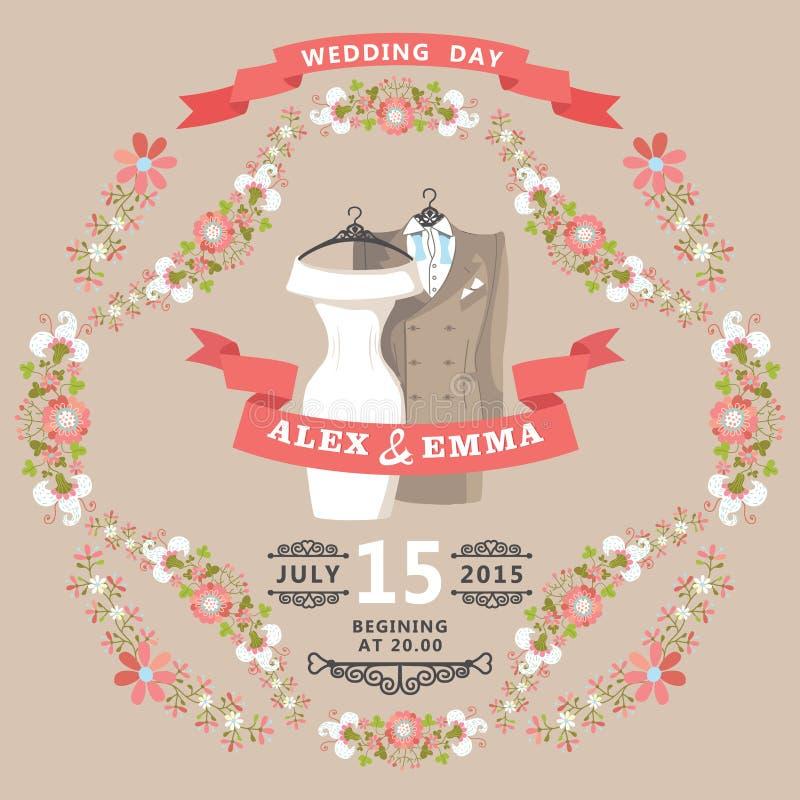 Invitation mignonne de mariage avec l'usage de mariage et le cadre floral illustration de vecteur