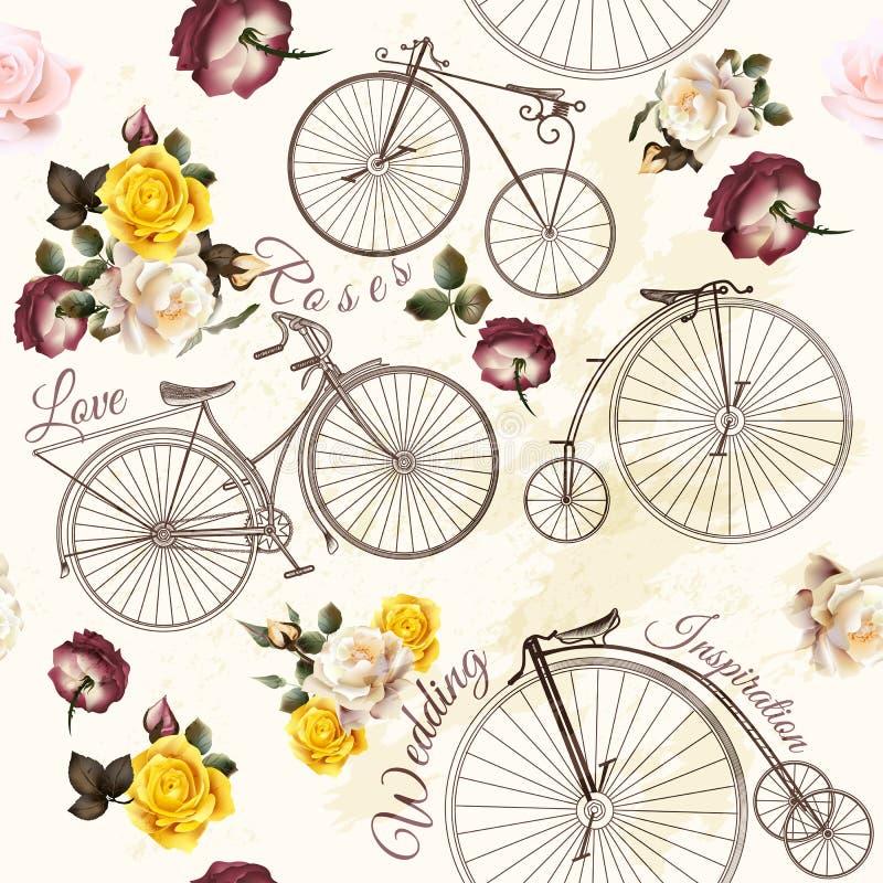Invitation mignonne de vecteur avec la fausses bicyclette et fleurs illustration de vecteur