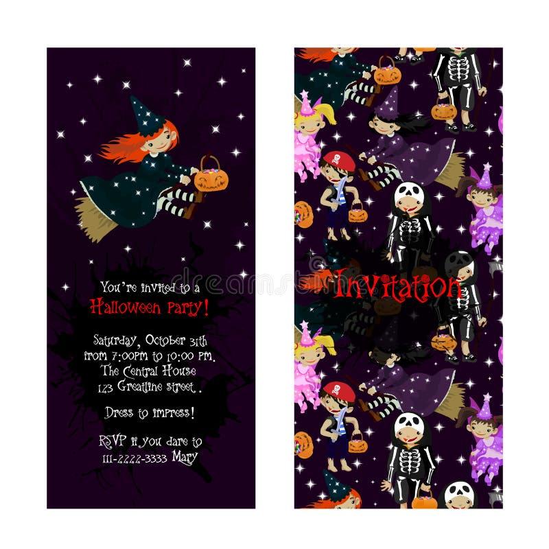 Invitation mignonne pour la partie de Halloween d'enfants illustration stock