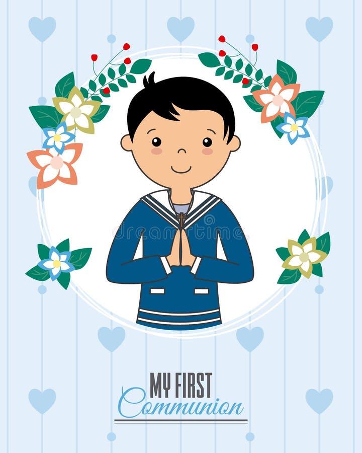 Invitation my first communion. Boy praying inside a flower frame royalty free illustration