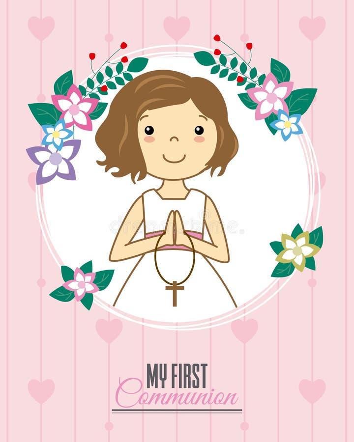 Invitation my first communion. Girl praying inside a flower frame stock illustration