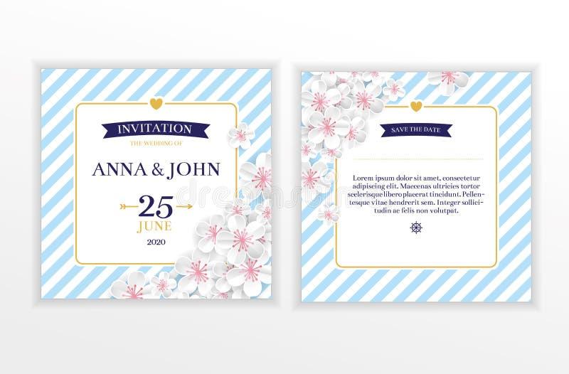 Invitation nautique marine de mariage de fleur illustration de vecteur