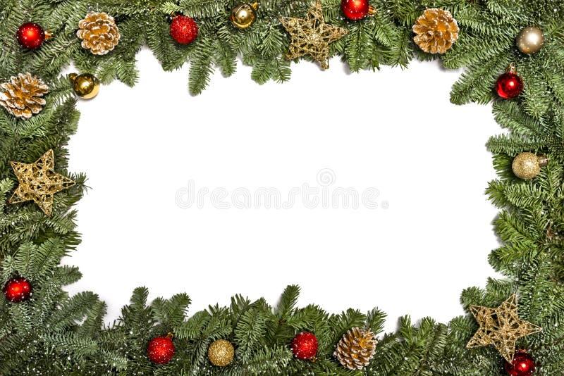 invitation new year Χριστουγέννων κόκκινο δέντρο poinsettia χαιρετισμών λουλουδιών διακοσμήσεων αειθαλές Το πλαίσιο με τη διακόσμ στοκ φωτογραφίες