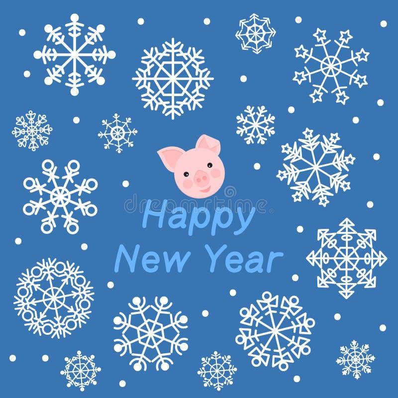 invitation new year Голова свиньи на голубой предпосылке со снежинками бесплатная иллюстрация