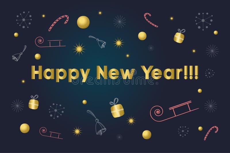 invitation new year 在背景的金文本与雪花,礼物,棒棒糖,响铃,星,雪橇 新年和冬天背景 免版税库存图片