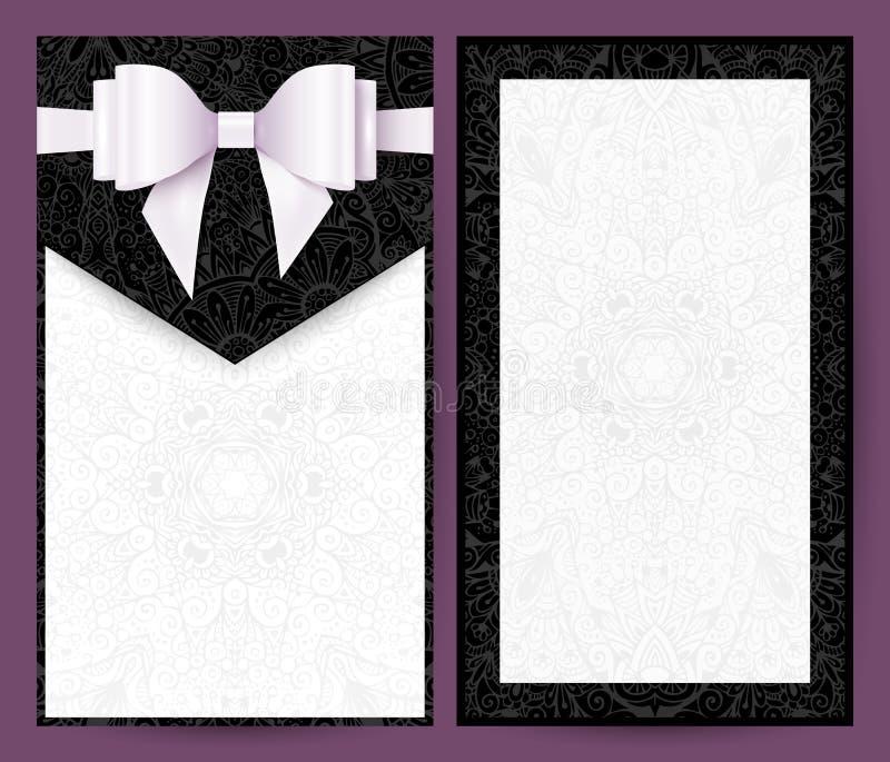 Invitation noire et blanche élégante de mariage de vecteur illustration de vecteur