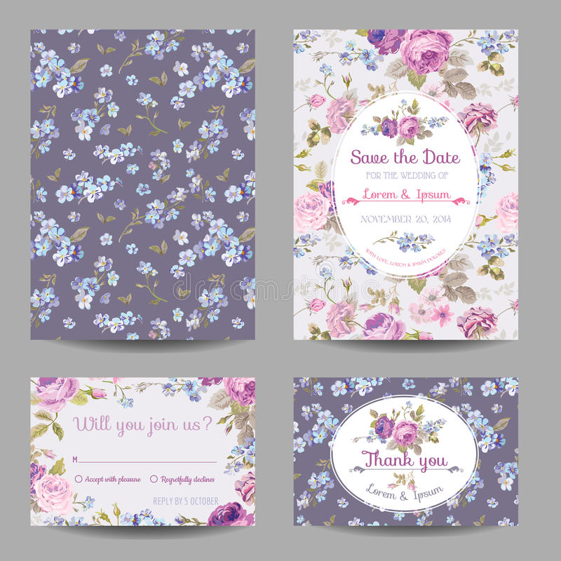 Free Invitation Or Congratulation Card Set Royalty Free Stock Photography - 52672697