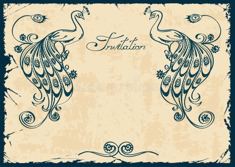 Invitation ou carte avec le paon bleu illustration de vecteur
