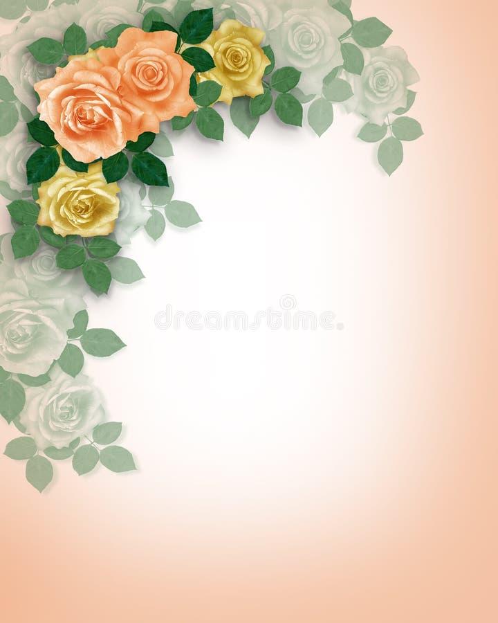 invitation peach roses template wedding бесплатная иллюстрация