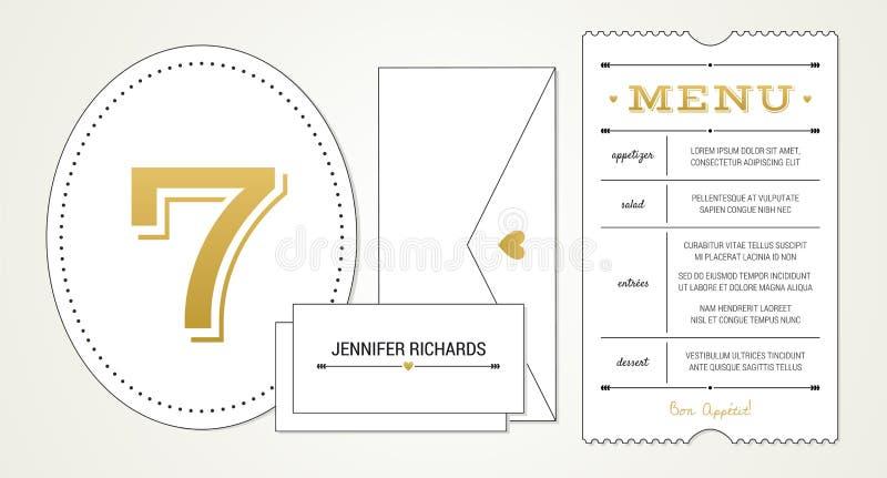 Invitation pinte de mariage 3 calibre - menu, nombre de Tableau, cartes d'endroit de nom (les polices utilisées étant énuméré dan photos libres de droits