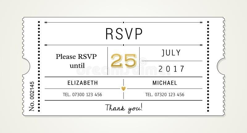 Invitation pinte de mariage 2 calibre - RSVP, carte de réponse (les polices utilisées étant énuméré dans le dossier) images libres de droits