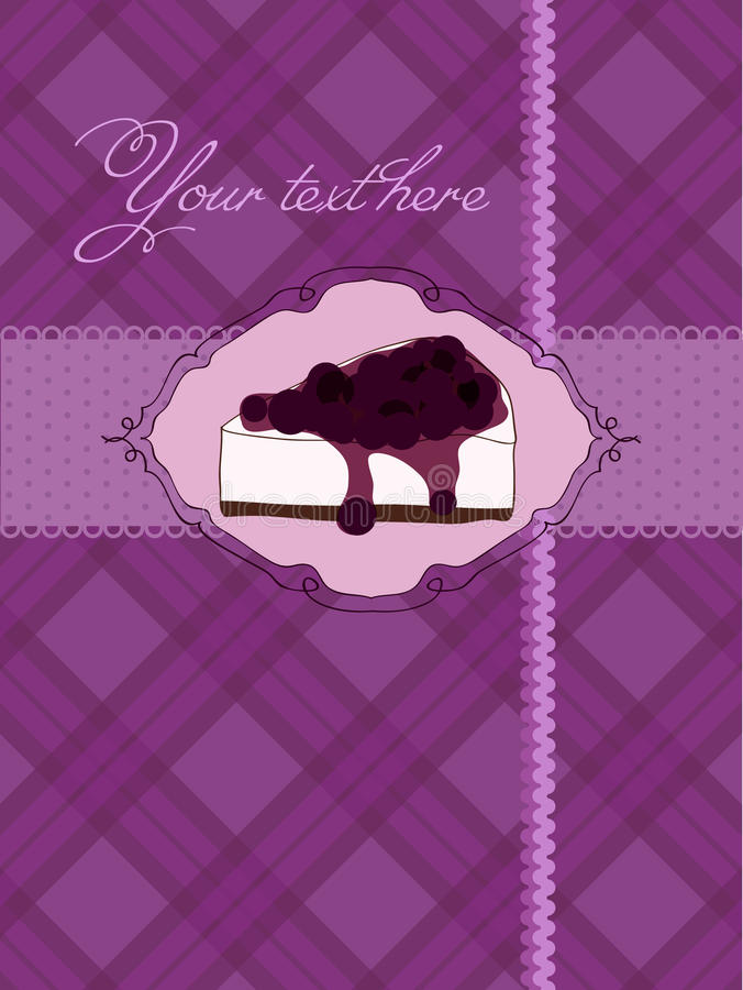 Invitation postcard with cheesecake. And blackberry vector illustration
