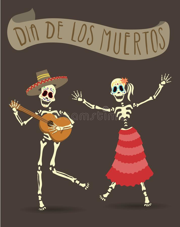Invitation poster for Day of the Dead. Dia de los Muertos. The skeleton playing guitar and dancing. Vector Illustration. royalty free illustration
