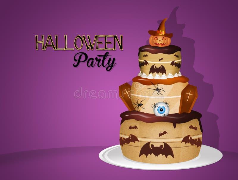 Invitation pour la partie de Halloween avec le gâteau illustration de vecteur