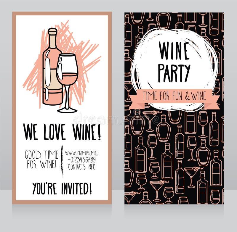 Invitation pour la partie de vin illustration stock
