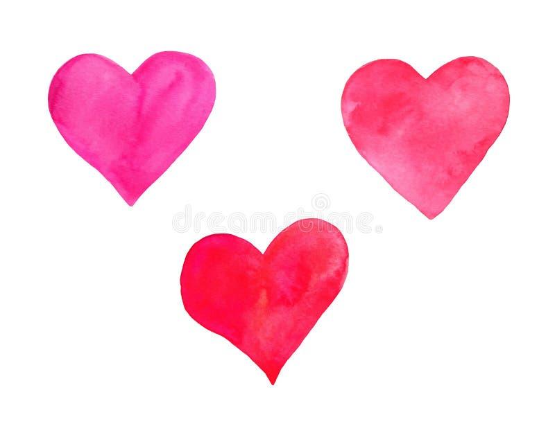 Invitation réglée de félicitation de carte de voeux de Saint-Valentin de jour d'aquarelle de coeurs illustration stock