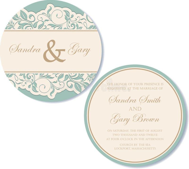 Invitation ronde et double face de mariage de vintage illustration stock