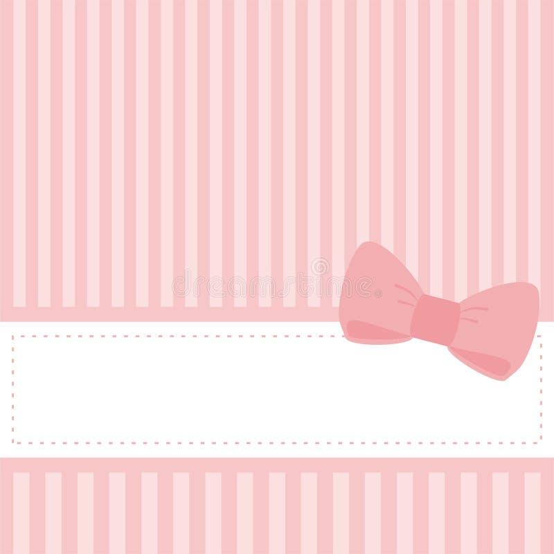 Invitation rose de vecteur de carte de mariage ou de douche de chéri illustration de vecteur
