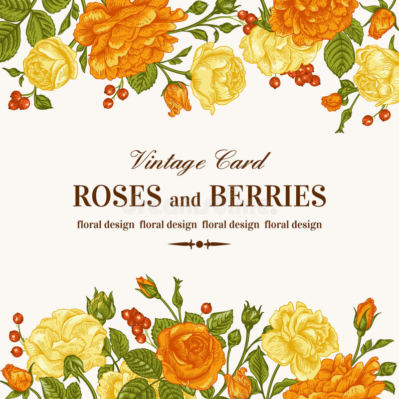 Invitation with roses. stock illustration