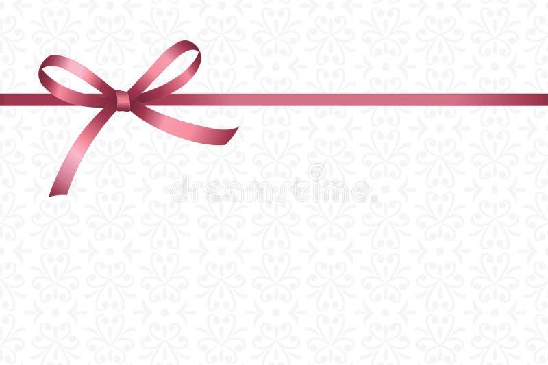 Invitation, salutation ou carte cadeaux avec le ruban rose et un arc sur le fond décoratif d'éléments illustration libre de droits