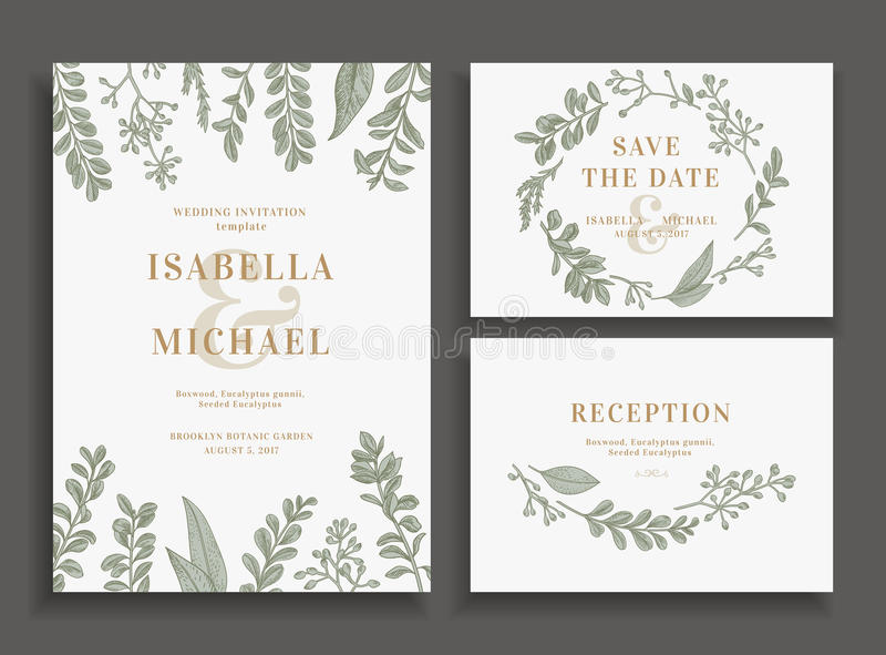 Invitation, save the date, reception card. royalty free illustration