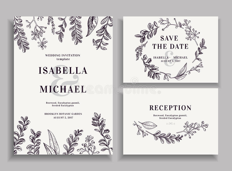 Invitation, save the date, reception card. stock illustration