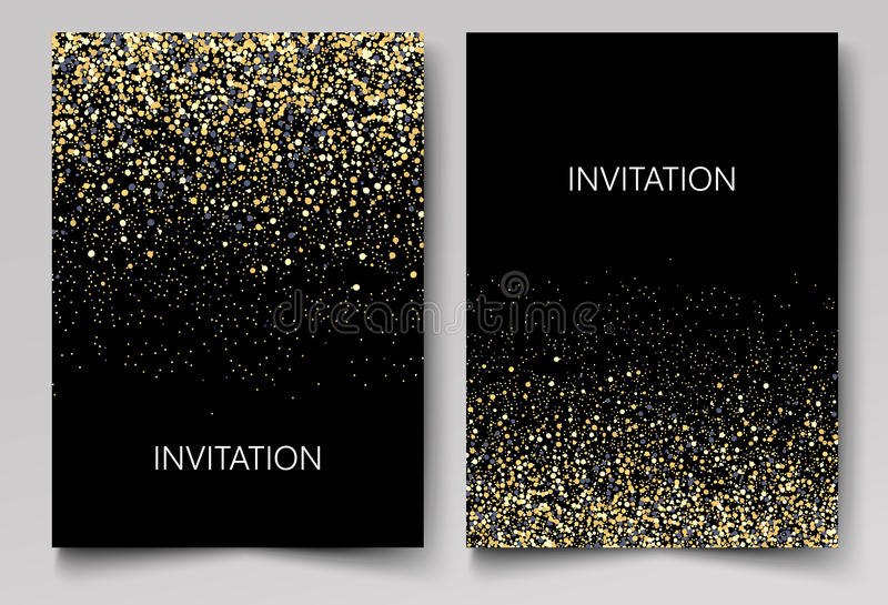 Invitation template with gold glitter confetti background. Festive greeting cards design for event stock illustration