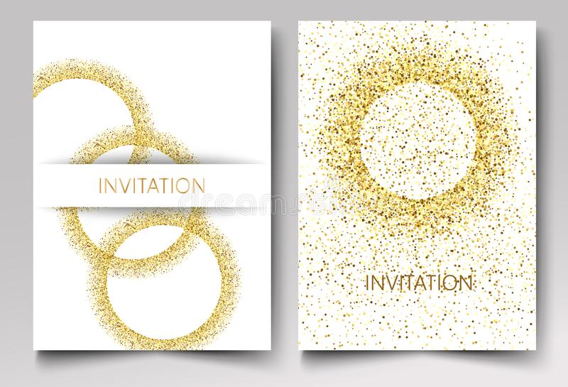 Invitation template gold glitter in the shape of circles on a white background. stock illustration