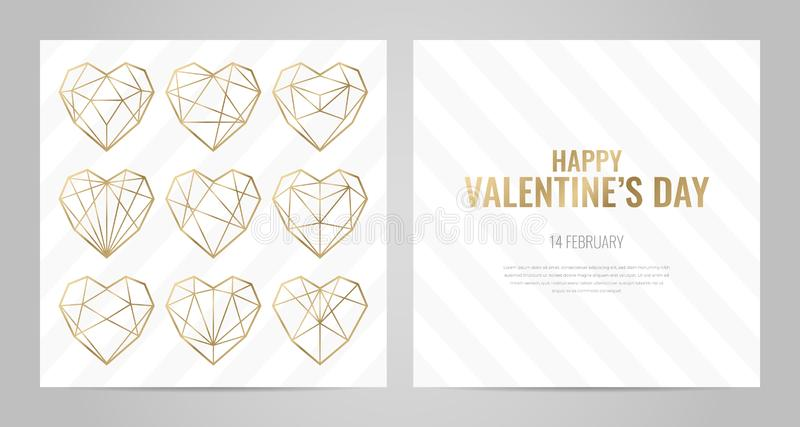 Invitation template gold lines on a white background. Luxury Valentines Day poster template with gold frame. Invitation template. Geometric shape