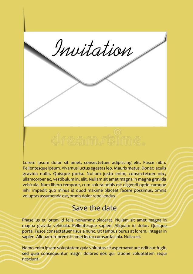 Invitation template with mailing envelope, 3d illusion, white envelope on golden background, headline invitation. Vector template vector illustration