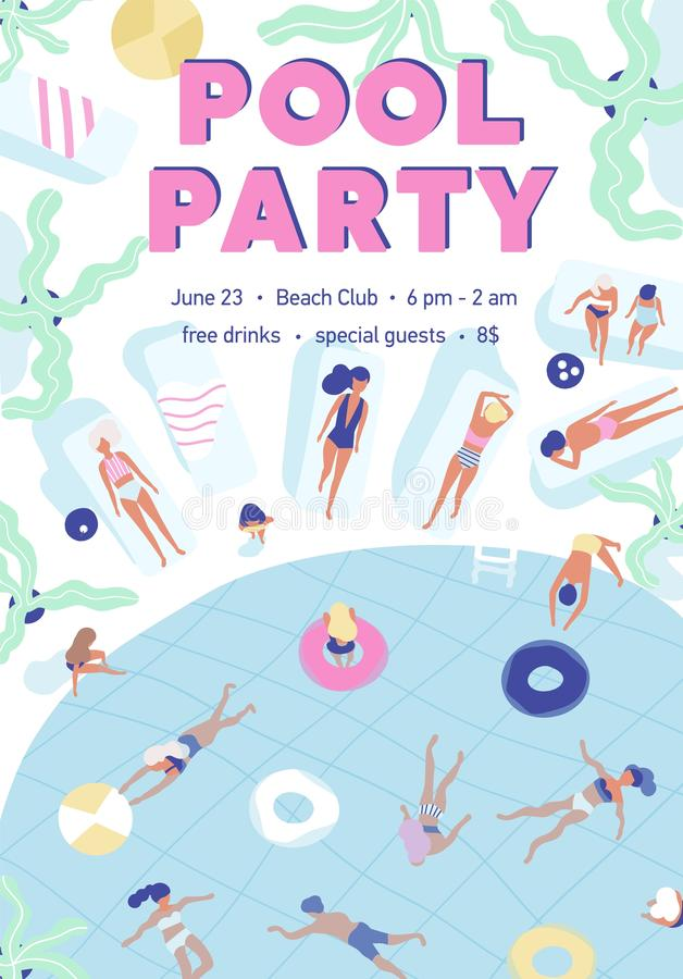 Invitation template for summer pool party with people dressed in swimsuits, swimming, and sunbathing at resort. Flat. Vector illustration for seasonal outdoor stock illustration