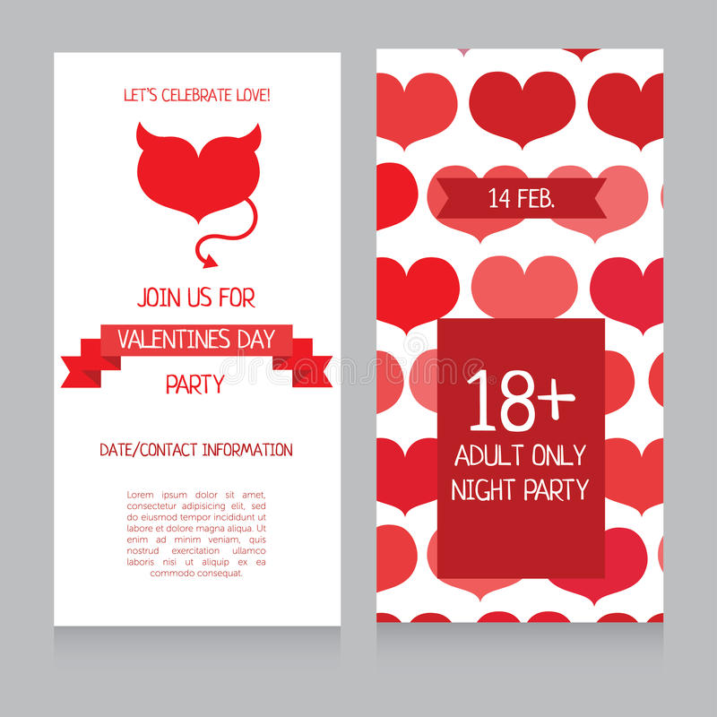 invitation template for valentine 39 s day adults only party banner stock vector illustration of. Black Bedroom Furniture Sets. Home Design Ideas