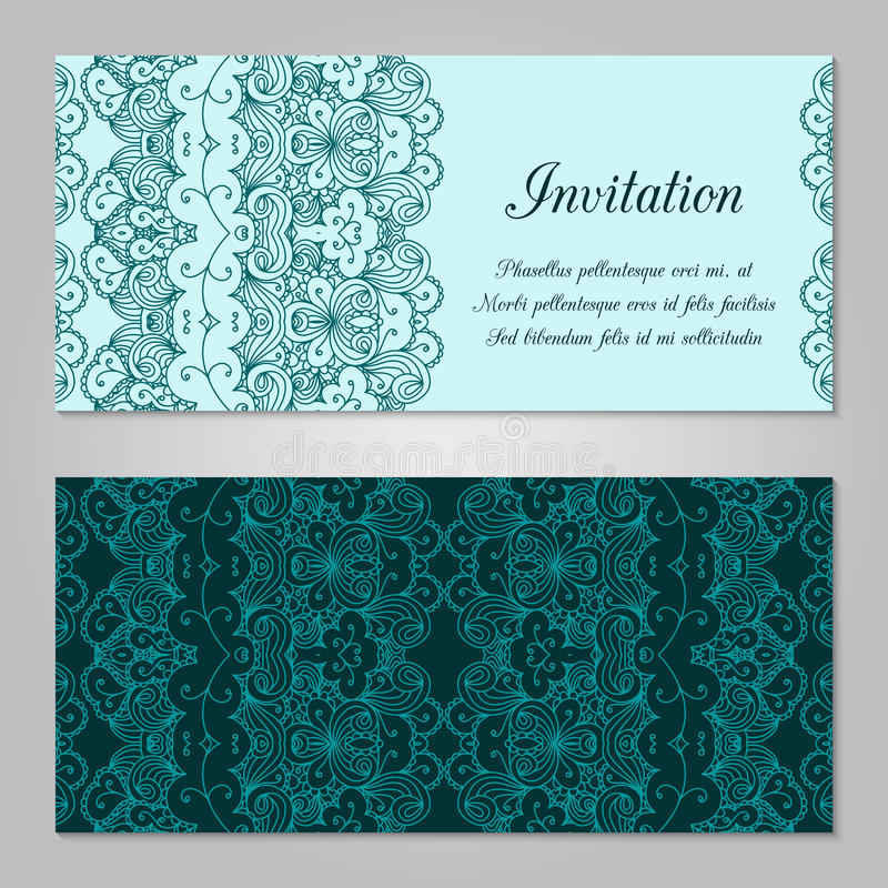 Invitation template. Vintage invitation decoration with lace ornament. Template jewelry detailed lace design. Can be used for packaging, invitations stock illustration