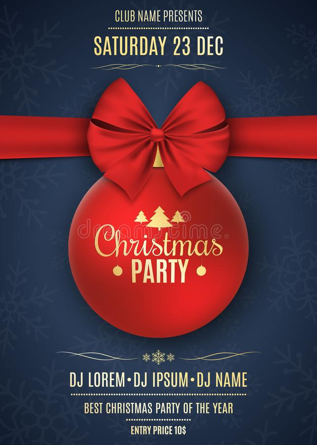 Free Invitation To A Christmas Party. Red Ball With Red Ribbon On A Dark Blue Background With Snowflakes. The Names Of The DJ Stock Photography - 103995512