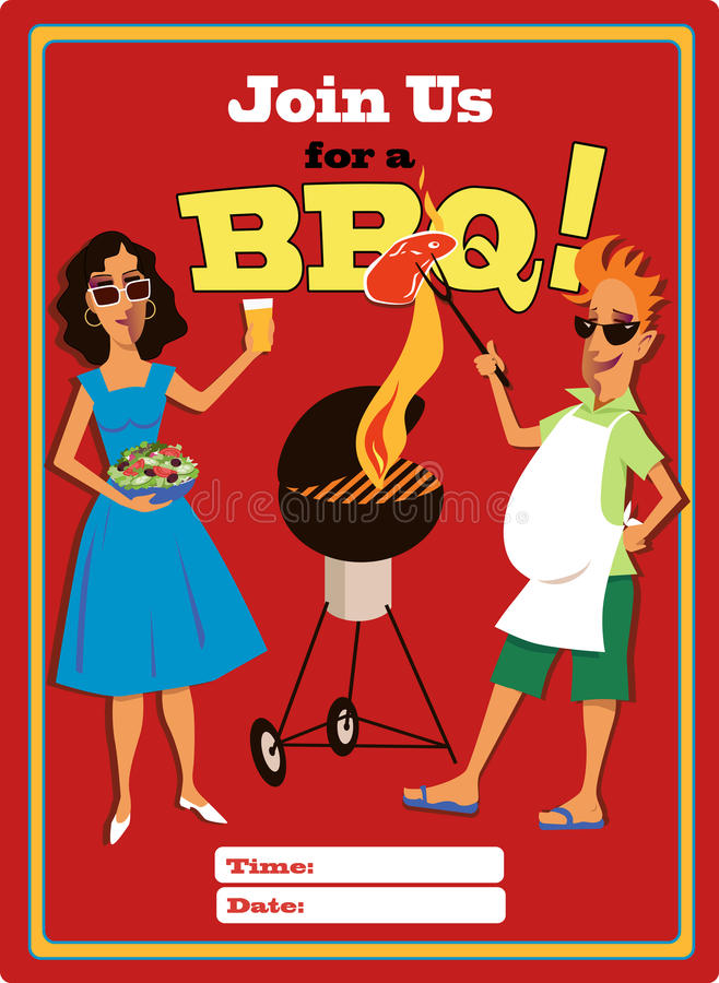Invitation To A Barbecue Party Stock Photo