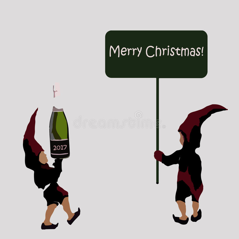 An invitation to a Christmas party. the elves of Santa Claus with champagne. Merry Christmas sign stock photography