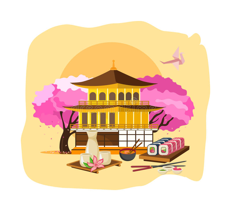 Invitation to Japan. Culture, language, drinks, food, entertainment, traditions. Invitation to Japan concept. Getting to know the culture, language, style of vector illustration