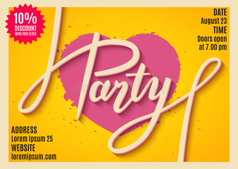 Invitation to party, banner, flyer, ticket, poster design with handwritten text vector illustration