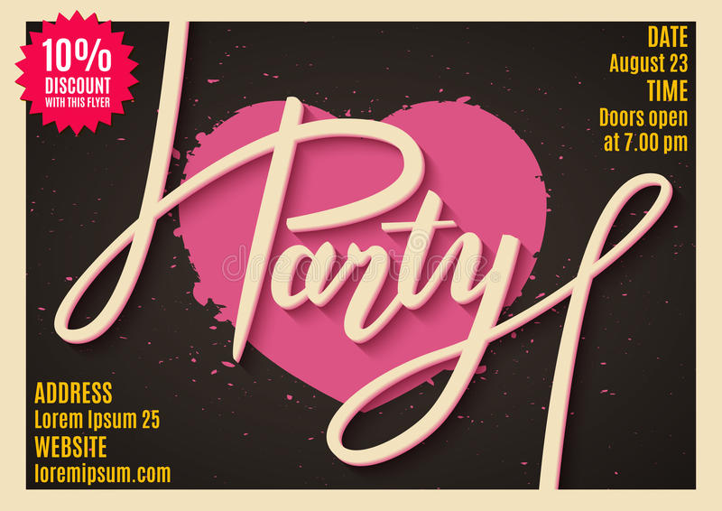 Invitation to party, banner, flyer, ticket, poster design with handwritten text royalty free illustration