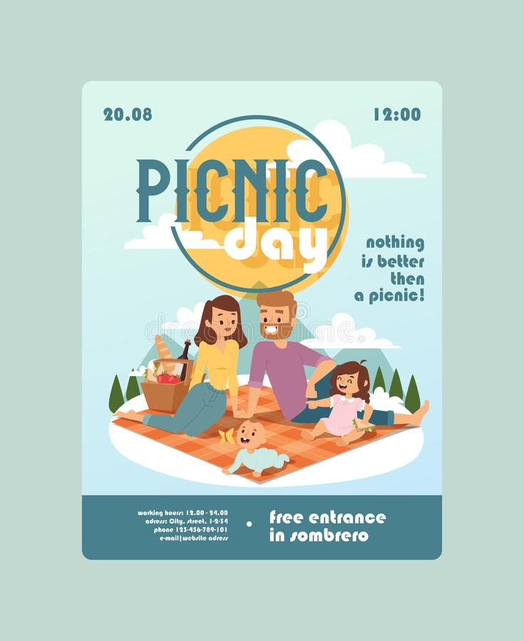Invitation to a picnic day family event, vector illustration. Outdoor activity announcement for parents with children vector illustration